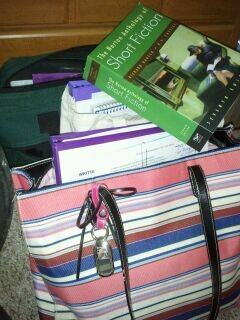 A picture of my school bags packed with books