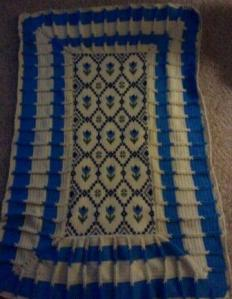 Blue and White afghan blanket with tulips