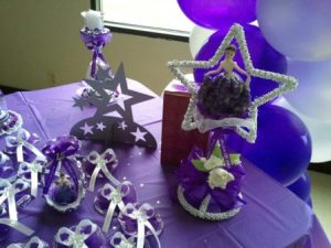 Purple Quinceanera Favors and table decor