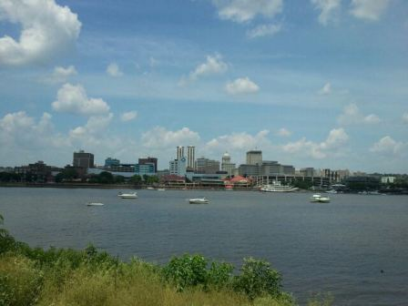 A view of Peoria, Illinois from across the Illinois River