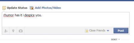 Sample Facebook status update with misspelled words