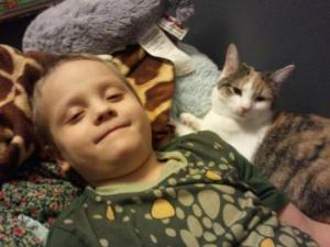 A 6-year-old and a cat