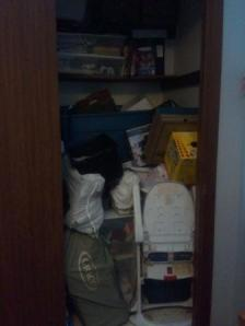 A picture of my messy, distracting closet