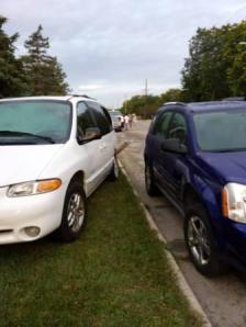 And to go with my poem: A picture of my car (the blue Equinox,) which came this close to being totalled a couple of days ago. The truck that hit it totalled 2 other vehicles, but my car got away without a scratch. Someone was watching over me that night!