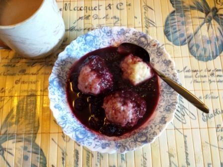 Blackberry dumplings and coffee