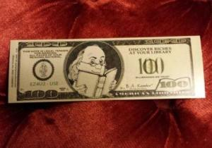 A dollar bill bookmark I found in a library book