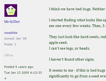 I think we have bed bugs discussion board