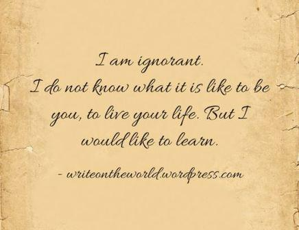 I am ignorant. I do not know what it is like to be you, to live your life. But I would like to learn.