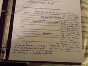 notes on my fantasy novel manuscript