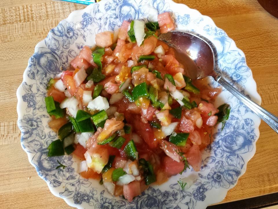a bowl of salsa fresco