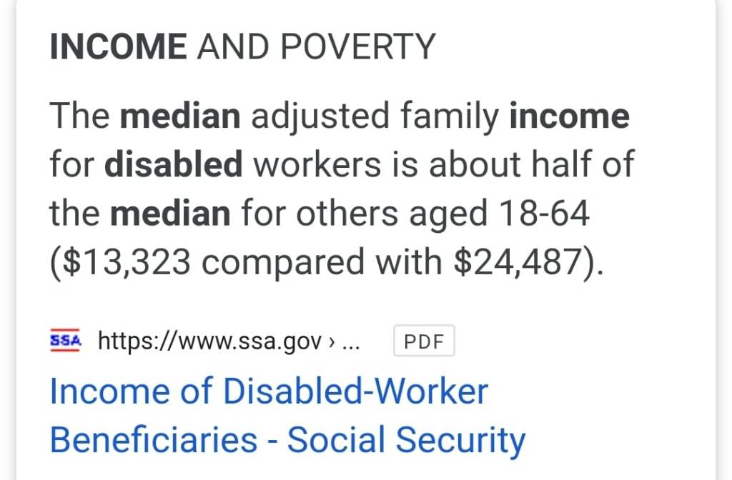Meme: The median adjusted family income for disabled workers is about half of the median for others aged 18-64 ($13,323 compared with $24,487). Source: ssa.gov